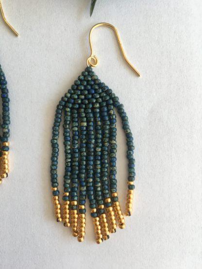 Indian tassels øreringe med guldbelagte perler