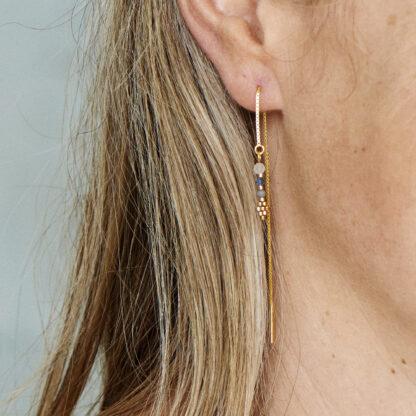 Ørekæde med smykkevedhæng. Håndlavede, unikke smykker med delicaperler, øreringe med sten og perler. Forgyldt sølv og guldbelagte perler