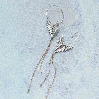 Håndlavede, unikke smykker med delicaperler, øreringe med sten og perler. Sterlingsølv og sølvbelagte glasperler