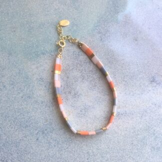 armbånd med tila-perler, glasperler med forgyldt sterlingsølv