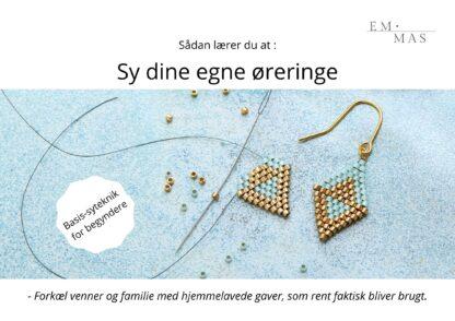 Online smykkekursus i perlesyning med teknikken Brick Stitch. Syet med delica-perler
